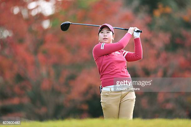 Saki Takeo of Japan hits her tee shot on the 8th hole during the second round of the Itoen Ladies Golf Tournament 2016 at the Great Island Club on...