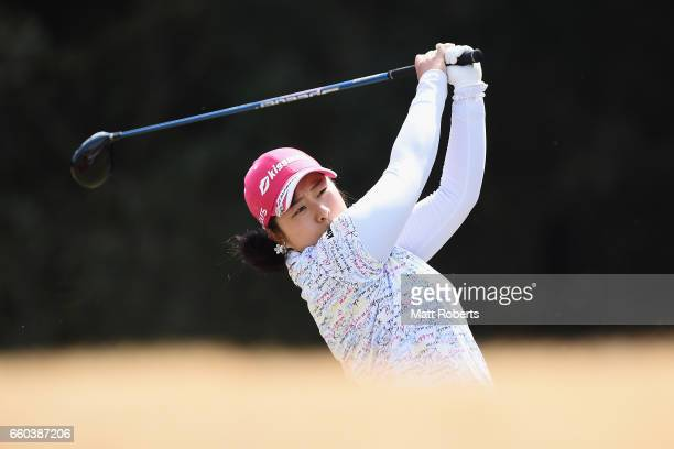 Saki Takeo of Japan hits her tee shot on the fifth hole during the first round of the YAMAHA Ladies Open Katsuragi at the Katsuragi Golf Club Yamana...