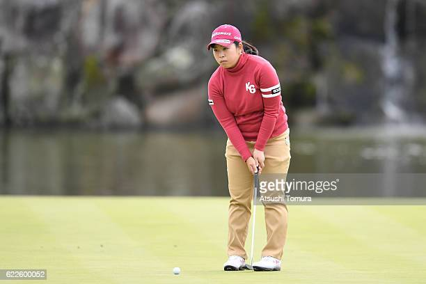 Saki Takeo of Japan lines up her putt on the 18th hole during the second round of the Itoen Ladies Golf Tournament 2016 at the Great Island Club on...