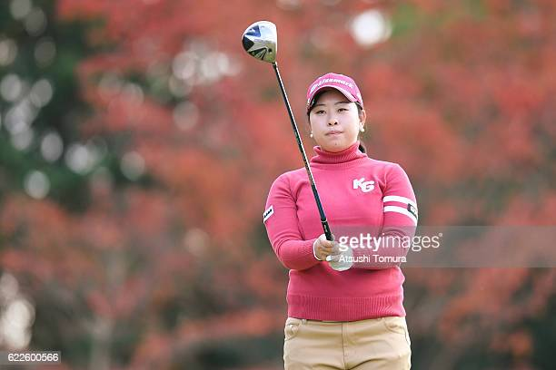 Saki Takeo of Japan lines up her tee shot on the 8th hole during the second round of the Itoen Ladies Golf Tournament 2016 at the Great Island Club...