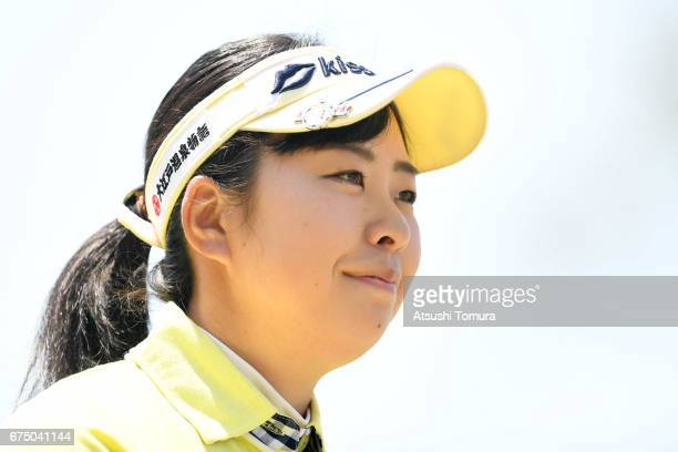 Saki Takeo of Japan looks on during the final round of the CyberAgent Ladies Golf Tournament at the Grand Fields Country Club on April 30 2017 in...