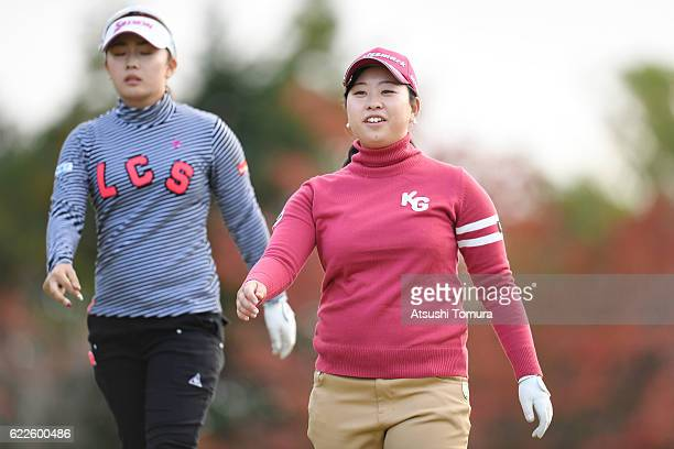 Saki Takeo of Japan looks on during the second round of the Itoen Ladies Golf Tournament 2016 at the Great Island Club on November 12 2016 in Chonan...