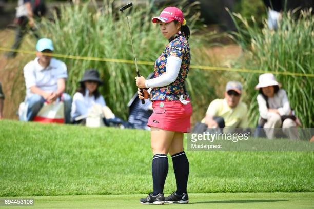 Saki Takeo of Japan looks on during the third round of the Suntory Ladies Open at the Rokko Kokusai Golf Club on June 10 2017 in Kobe Japan