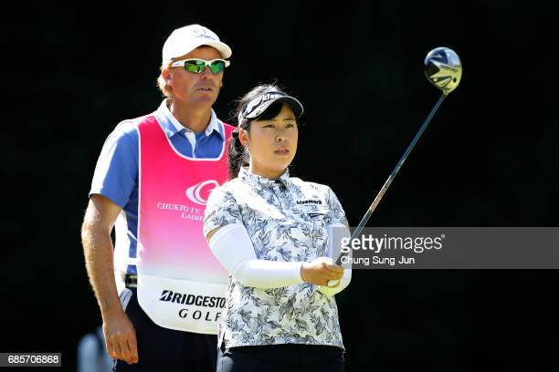 Saki Takeo of Japan on the 5th hole of second round during the Chukyo Television Bridgestone Ladies Open at the Chukyo Golf Club Ishino Course on May...