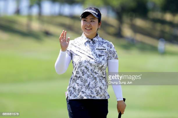 Saki Takeo of Japan reacts after a putt on the 18th green of second round during the Chukyo Television Bridgestone Ladies Open at the Chukyo Golf...