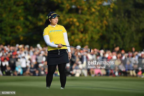 Saki Takeo of Japan reacts during the final round of the Itoen Ladies Golf Tournament 2016 at the Great Island Club on November 13 2016 in Chonan...