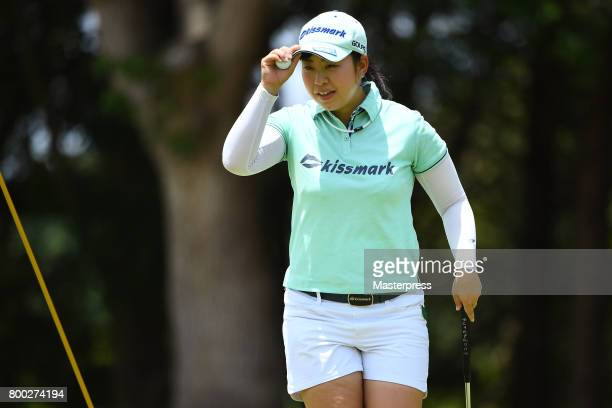 Saki Takeo of Japan reacts during the third round of the Earth Mondamin Cup at the Camellia Hills Country Club on June 24 2017 in Sodegaura Japan