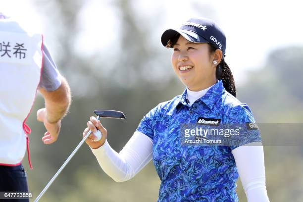 Saki Takeo of Japan smies during the third round of the Daikin Orchid Ladies Golf Tournament at the Ryukyu Golf Club on March 4 2017 in Nanjo Japan