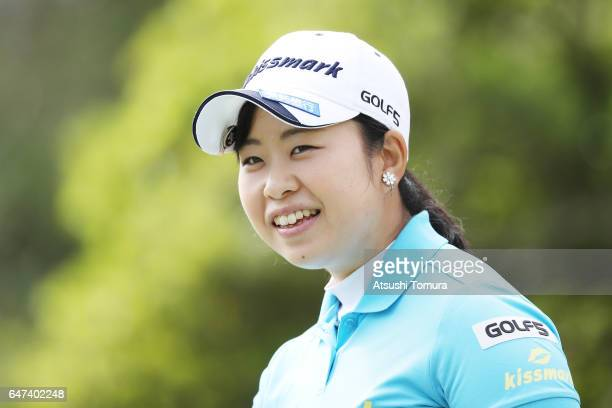 Saki Takeo of Japan smiles during the second round of the Daikin Orchid Ladies Golf Tournament at the Ryukyu Golf Club on March 3 2017 in Nanjo Japan