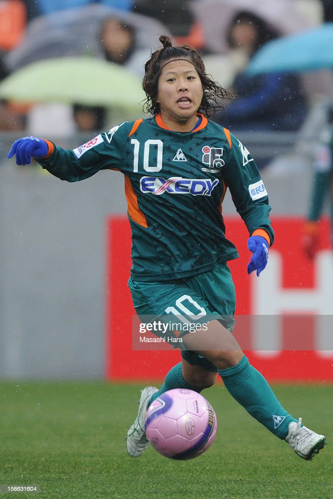 Saki Tsutsumi #10 of Iga FC Kunoichi in action during the 34th Empress's Cup All Japan Women's Football Tournament semi final match between Iga FC Kunoichi and JEF United Chiba Ladies at Nack 5 Stadium Omiya on December 22, 2012 in Saitama, Japan.
