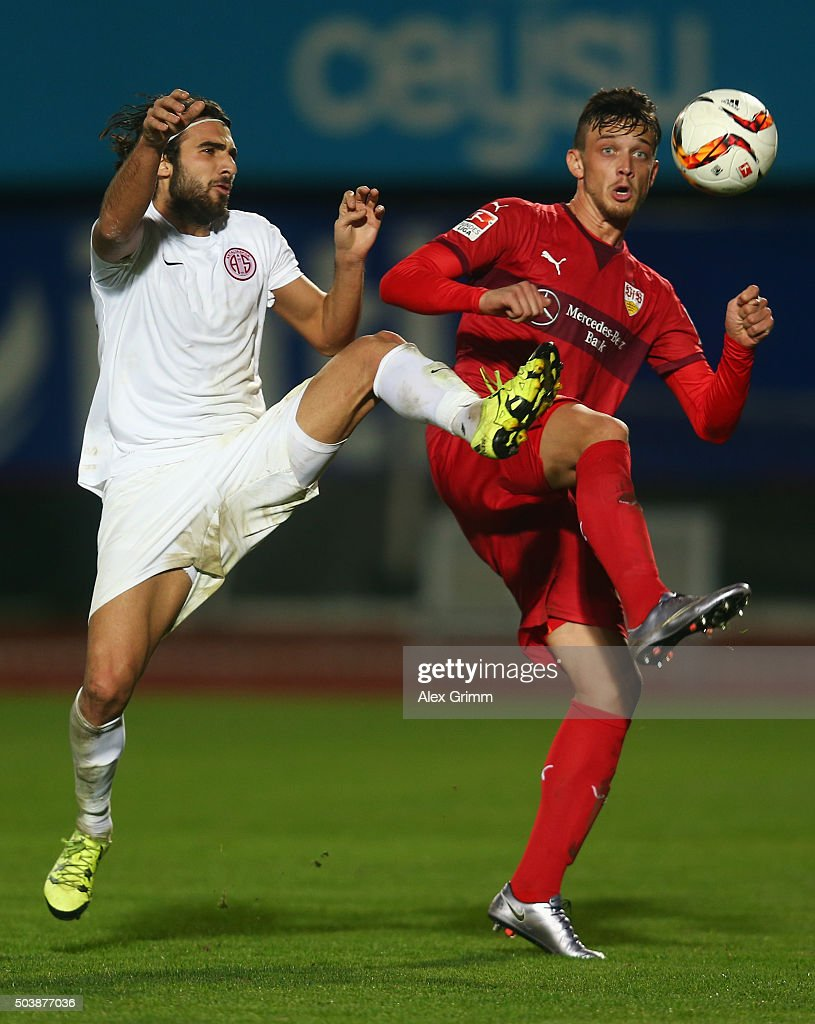 Sakib Aytac (L) of Antalyaspor is challenged by Borys Tashchy of Stuttgart during a friendly match between VfB Stuttgart and Antalyaspor at Akdeniz Universitesi on January 7, 2016 in Antalya, Turkey.