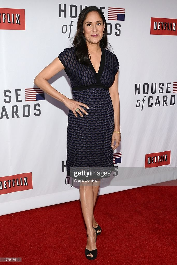 Sakina Jaffrey arrives at the Netflix's 'House Of Cards' for your consideration Q&A event at Leonard H. Goldenson Theatre on April 25, 2013 in North Hollywood, California.