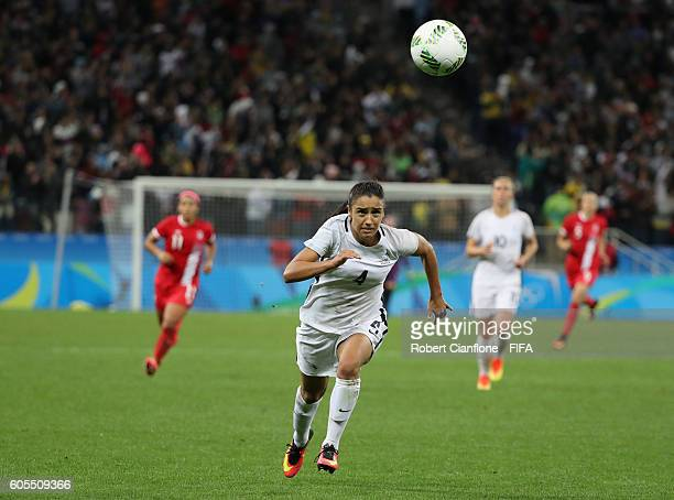 Sakina Karchaoui of France chases the ball during the Women's Football Quarter Final match between Canada and France on Day 7 of the Rio 2016 Olympic...