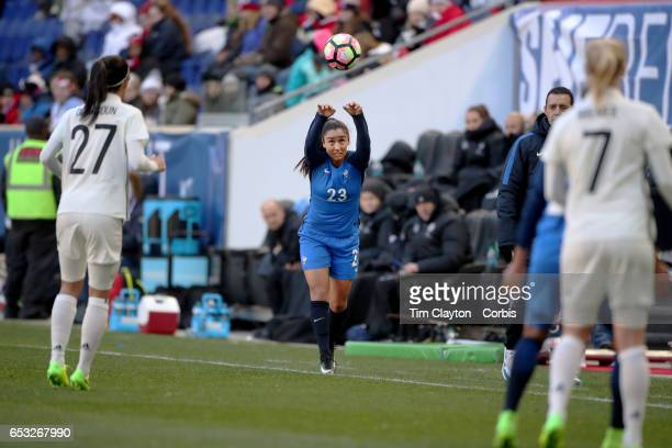Sakina Karchaoui of France takes a throwin during the France Vs Germany SheBelieves Cup International match at Red Bull Arena on March 4 2017 in...