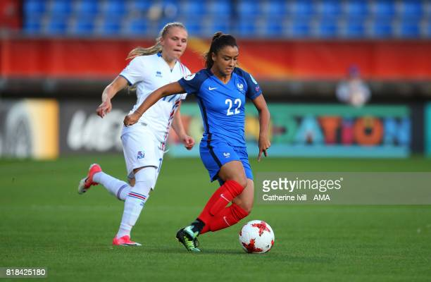 Sakina Karchaoui of France Women gets away from Agla Maria Albertsdottir of Iceland Women during the UEFA Women's Euro 2017 match between France and...