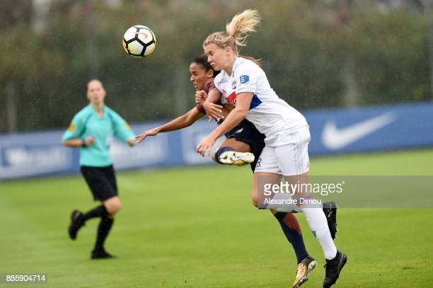 Sakina Karchaoui of Montpellier and Ada Hegerberg of Lyon during the women's Division 1 match between Montpellier and Lyon on September 30 2017 in...