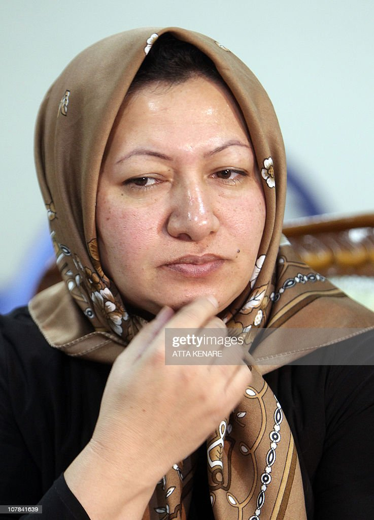 Sakineh Mohammadi Ashtiani, a 43-year-old Iranian woman sentenced to death by stoning for adultery, speaks to reporters in Iran's northwestern city of Tabriz on January 1, 2011, announcing she would sue two German journalists who have been jailed in Iran for interviewing her son.