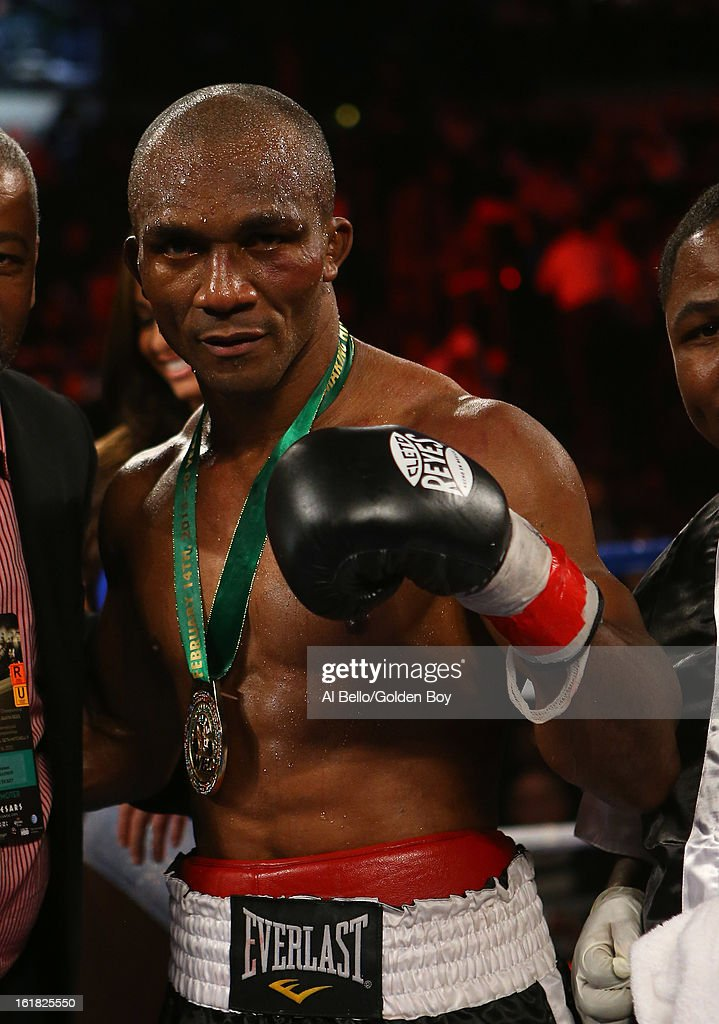 Sakio Bika poses after his unanimous Decision win against Nikola Sjekloca after their WBC Super Middleweight title Eliminator fight at Atlantic City Boardwalk Hall on February 16, 2013 in Atlantic City, New Jersey.
