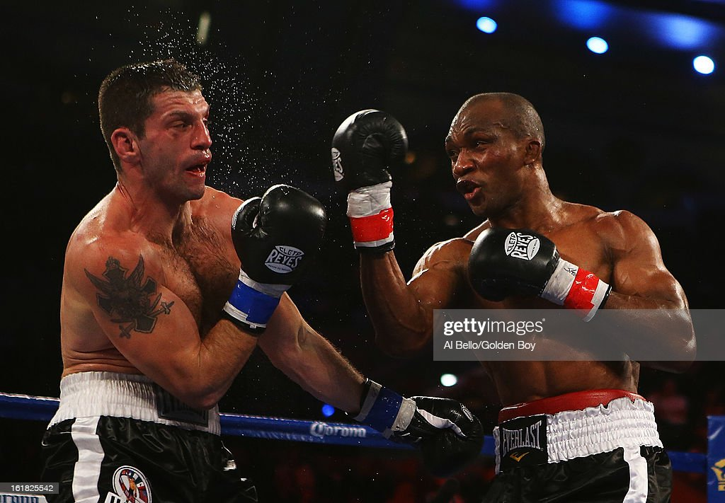 Sakio Bika punches Nikola Sjekloca during their WBC Super Middleweight title Eliminator fight at Atlantic City Boardwalk Hall on February 16, 2013 in Atlantic City, New Jersey.
