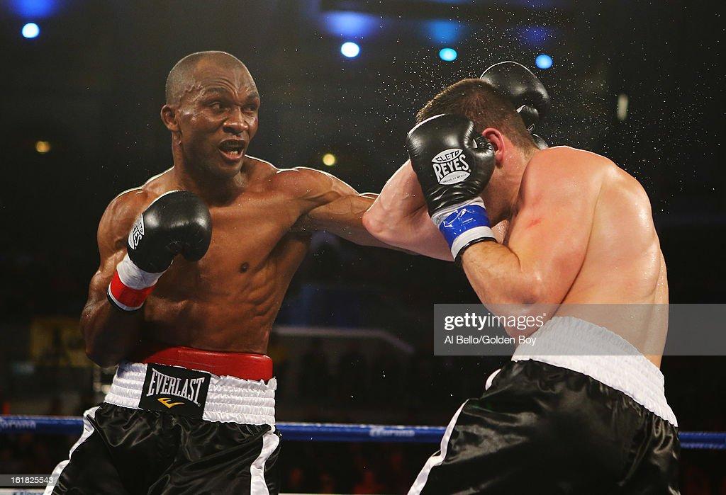 Sakio Bika punches Nikola Sjekloca during their WBC Super Middleweight title Eliminator fight at Atlantic City Boardwalk Hall on February 16, 2013 in Atlantic City, New Jersey.
