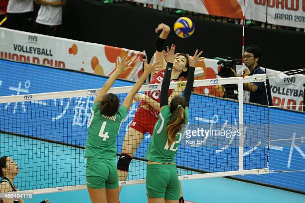 Sakoda Saori of Japan spikes the ball in the match between Japan and Algeria during the FIVB Women's Volleyball World Cup Japan 2015 at Nippon Gaishi...