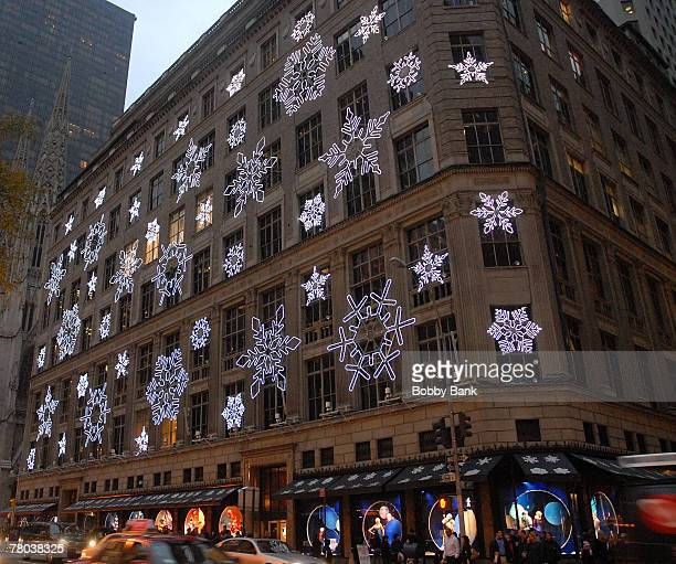 Saks Christmas Display on 5th Avenue Building for the Holidays 2007 on November 20 2007 in New York