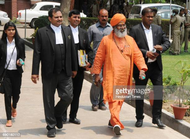 Sakshi Maharaj after getting bail in Ayodhya Ram MandirBabri Masjid Demolition case at CBI court on May 30 2017 in Lucknow India Senior BJP leaders...