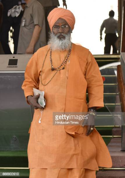 Sakshi Maharaj at Parliament during the second leg of Budget Session on April 10 2017 in New Delhi India The Lok Sabha passed the Motor Vehicle...