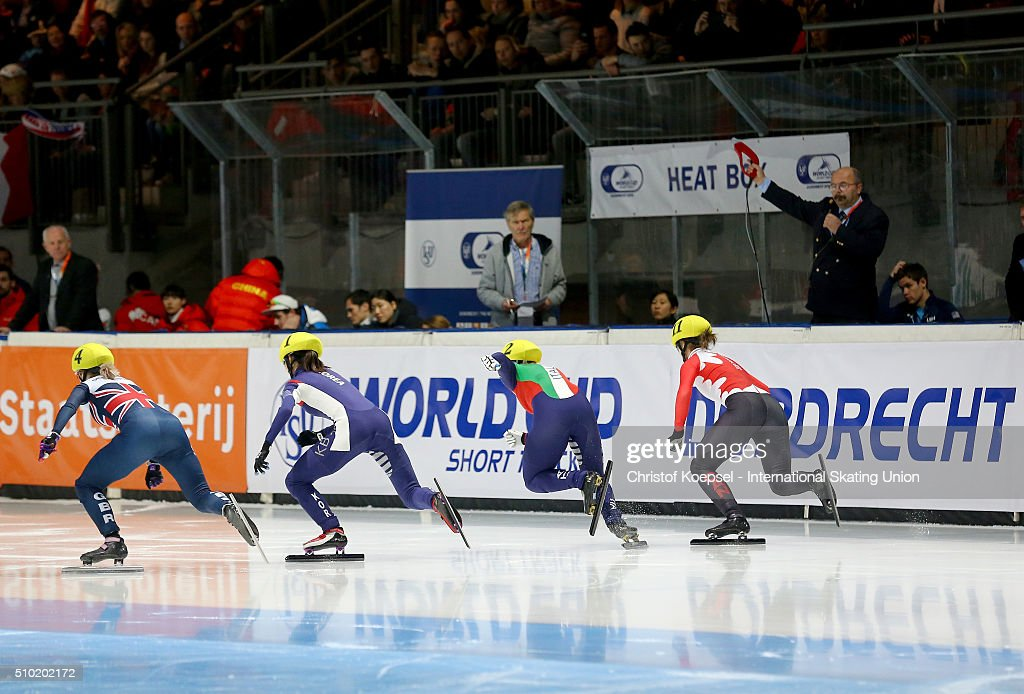 Sakters in action during the ladies 500m final A during Day 3 of ISU Short Track World Cup at Sportboulevard on February 14, 2016 in Dordrecht, Netherlands.