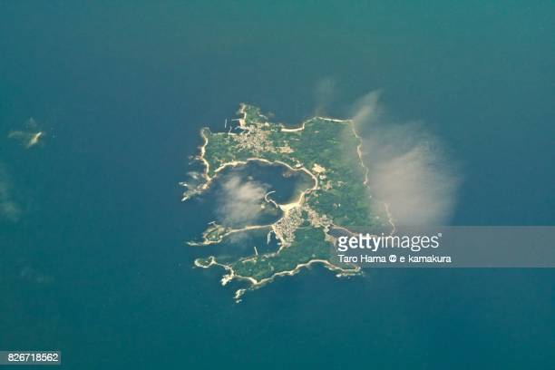 Saku Island in Nishio city in Aichi prefecture day time aerial view from airplane