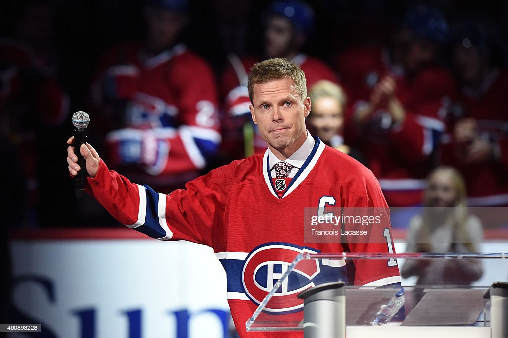 Saku Koivu during pregame ceremony being held to honour his on and office achievements over the course of an 18year NHL playing career prior to the...