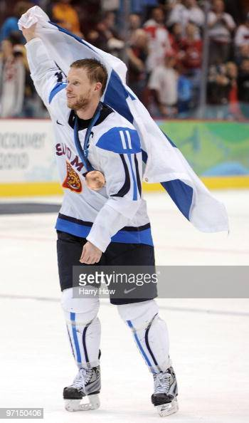Saku Koivu of Finland celebrate after winning the bronze during the ice hockey men's bronze medal game between Finland and Slovakia on day 16 of the...