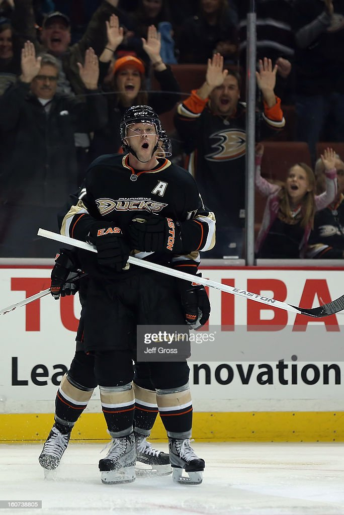 Saku Koivu #11 of the Anaheim Ducks celebrates his third period goal against the San Jose Sharks at Honda Center on February 4, 2013 in Anaheim, California. The Ducks defeated the Sharks 2-1.