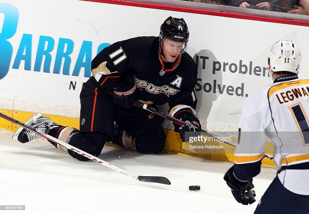 Saku Koivu #11 of the Anaheim Ducks eyes the puck as David Legwand #11 of the Nashville Predators closes in during the game on February 27, 2013 at Honda Center in Anaheim, California.