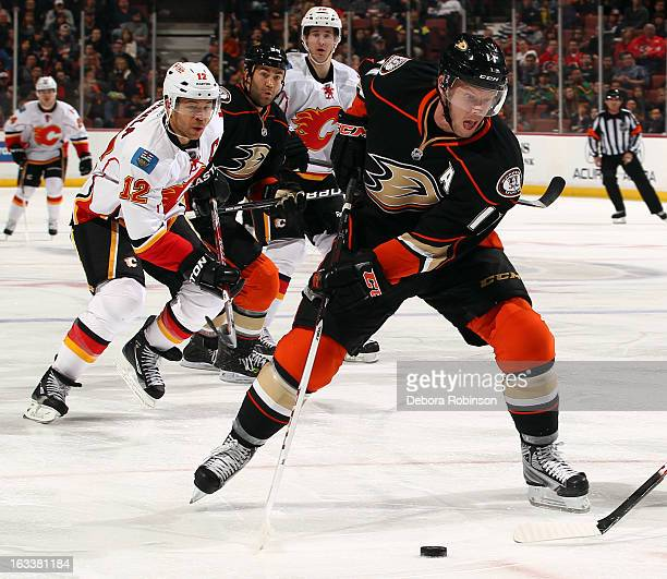 Saku Koivu of the Anaheim Ducks handles the puck during the game against the Calgary Flames on March 8 2013 at Honda Center in Anaheim California