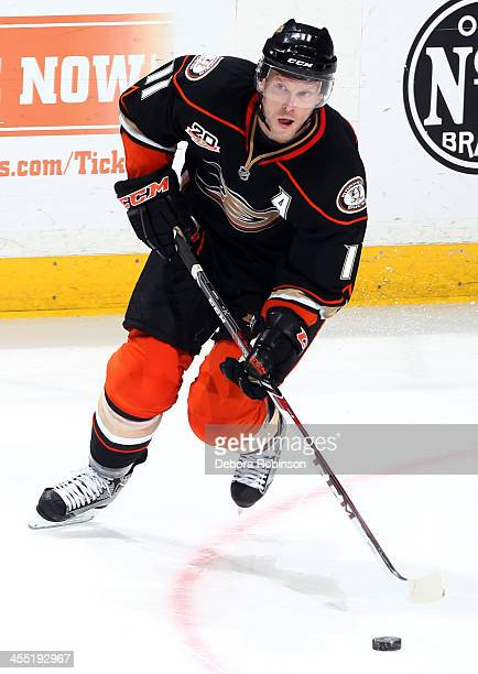 Saku Koivu of the Anaheim Ducks handles the puck during the game against the Los Angeles Kings on December 3 2013 at Honda Center in Anaheim...