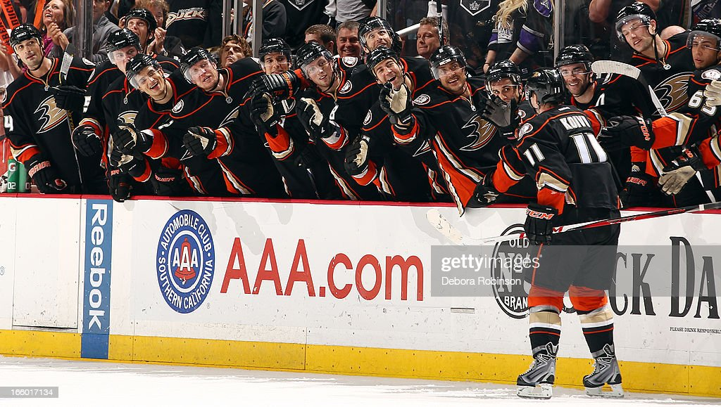 <a gi-track='captionPersonalityLinkClicked' href=/galleries/search?phrase=Saku+Koivu&family=editorial&specificpeople=202253 ng-click='$event.stopPropagation()'>Saku Koivu</a> #11 of the Anaheim Ducks is congratulated by his teammates after scoring a goal in a shootout period during the game against the Los Angeles Kings on April 7, 2013 at Honda Center in Anaheim, California.