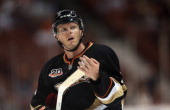Saku Koivu of the Anaheim Ducks looks on against the Colorado Avalanche at Honda Center on September 22 2013 in Anaheim California
