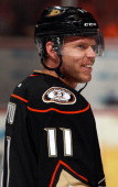 Saku Koivu of the Anaheim Ducks looks on before the game against the Los Angeles Kings on April 7 2013 at Honda Center in Anaheim California