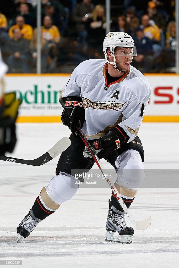 Saku Koivu #11 of the Anaheim Ducks plays against the Nashville Predators at Bridgestone Arena on February 16, 2013 in Nashville, Tennessee.