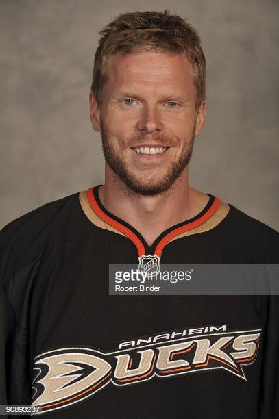 Saku Koivu of the Anaheim Ducks poses for his official headshot for the 20092010 NHL season