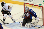 Saku Koivu of the Anaheim Ducks puts the puck past goalie Semyon Varlamov of the Colorado Avalanche to give the Ducks a 20 lead in the first period...