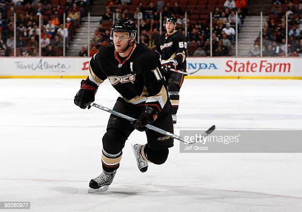 Saku Koivu of the Anaheim Ducks skates against the Phoenix Coyotes at the Honda Center on November 7 2009 in Anaheim California
