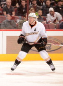 Saku Koivu of the Anaheim Ducks skates up ice against the Phoenix Coyotes at Jobingcom Arena on March 2 2013 in Glendale Arizona