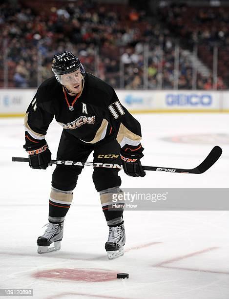 Saku Koivu of the Anaheim Ducks waits to faceoff against the Calgary Flames at Honda Center on February 6 2012 in Anaheim California