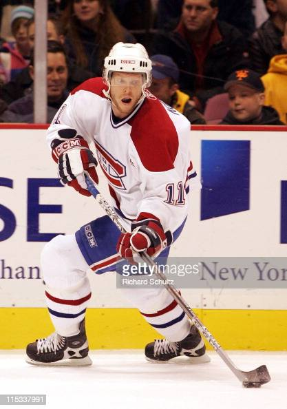 Saku Koivu of the Montreal Canadiens against the New Jersey Devils during the second period at the Continental Airlines Arena in East Rutherford NJ...