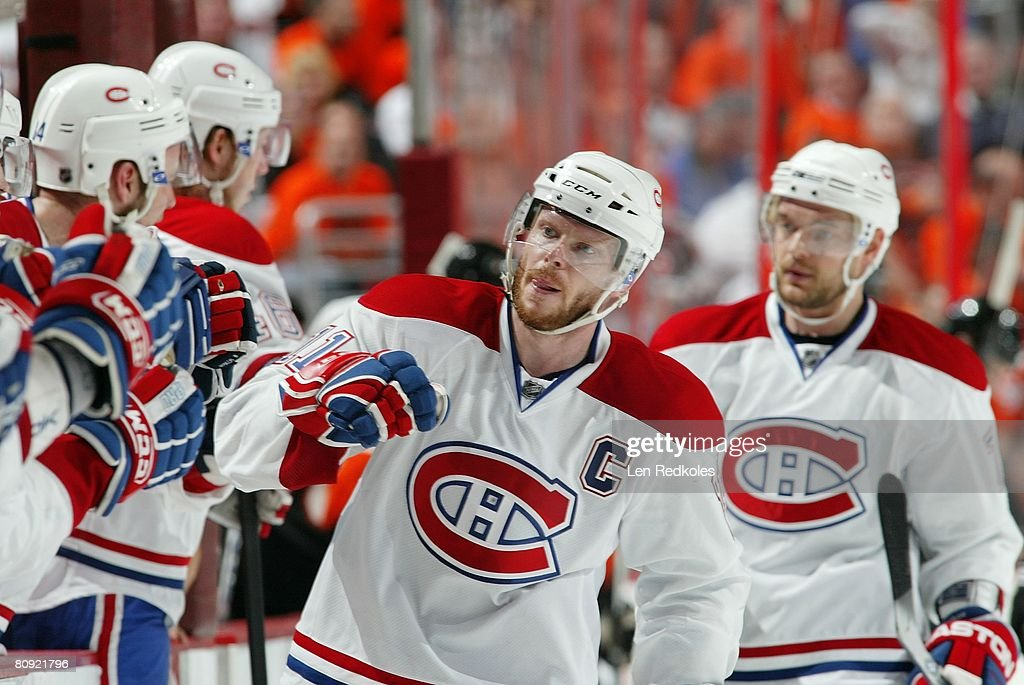 Saku Koivu of the Montreal Canadiens celebrates his 3rd period goal against the Philadelphia Flyers during game three of the Eastern Conference...