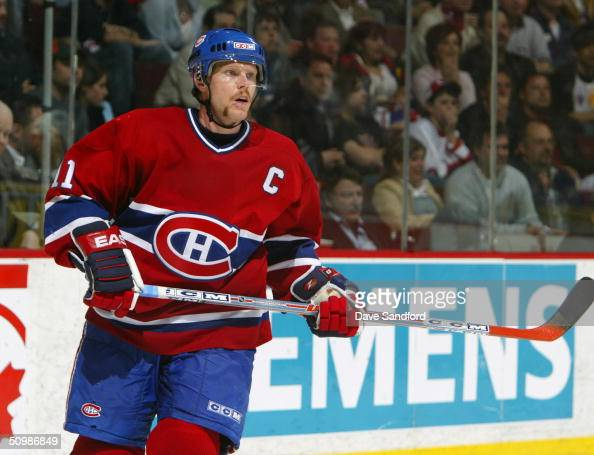 Saku Koivu of the Montreal Canadiens skates against the Tampa Bay Lightning during game four of the eastern conference semifinals on April 29 2004 at...