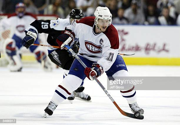 Saku Koivu of the Montreal Canadiens skates up ice with the puck during Game two of the Eastern Conference Semifinals against the Tampa Bay Lightning...