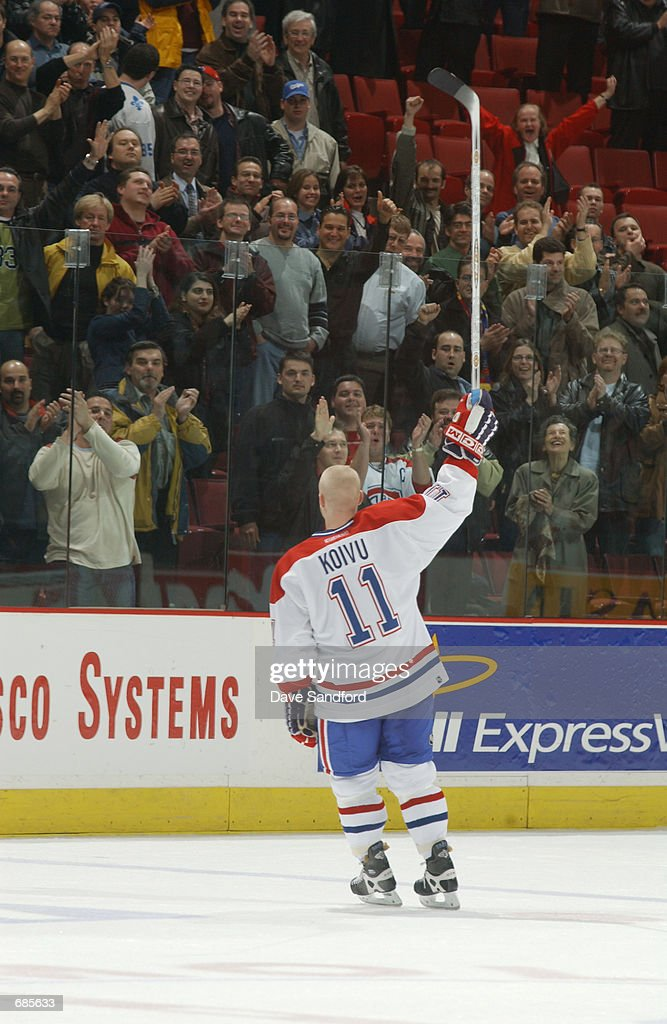Saku Koivu of the Montreal Candaiens acknowledges the crowd before the start of the game against the Ottawa Senators at the Molson Centre in Montreal...